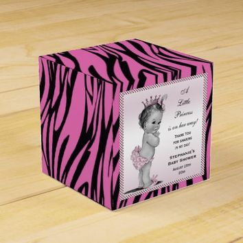 Vintage Princess Baby Shower Pink Zebra Pattern Party Favor Box