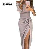 ELSVIOS Women Bright Silk Shiny Bodycon Dress Sexy Off Shoulder Party Dress Autumn Three Quarter Sleeve Elegant Midi Dresses
