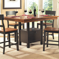 Solid Wood Counter Height Table Set - Cherry & Espresso