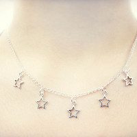 Star Necklace // Pastel Goth Star Choker // Kawaii Pastel Grunge 90s Soft Grunge Star Charm Necklace // Boho Punk Hipster Creepy Cute