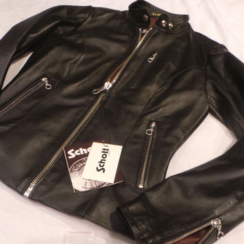 Schott  Nyc Racer Women  Leather Biker Jacket  1141 Black only