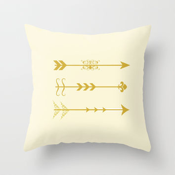 Gold Arrows Throw Pillow by RinaCitaku
