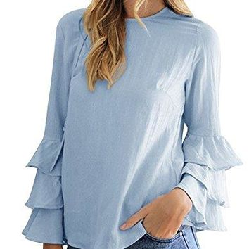 Dafina Specialties Womens Layered Pleated Flared Bell Long Sleeve Tee Shirts Blouses