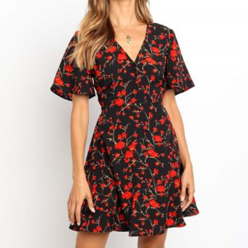 Fashion New Floral Print Short Sleeve Dress Women