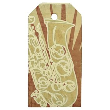 Vintage Sepia Musical Saxophone Wooden Gift Tag