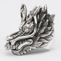Silver Fuchur Dragon Ring - Never Ending Story Dragon Ring in Sterling Silver 925 - Custom Fitted Sizes