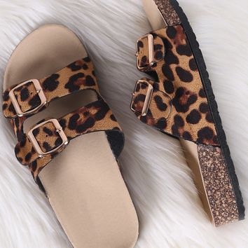 Leopard Double Buckled Slide Footbed Sandals