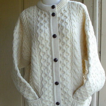 ON SALE Vintage 80s Cable Knit Irish Cardigan Sweater