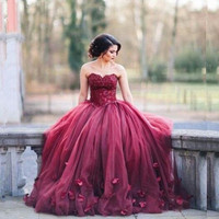 Burgundy Prom Dresses Long Ball Gown Sweetheart Flowers Appliques Puffy Tulle Gala Jurken Abendkleider 2017 Evening Party Abiye