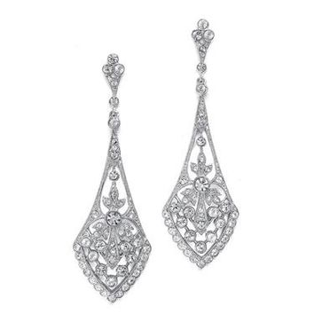 Dramatic Vintage Bridal Earrings in Cubic Zirconia 1072E-S