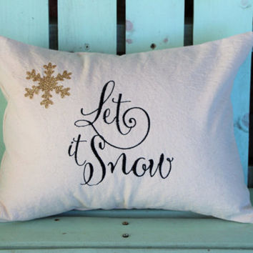 new 12x16 Let it Snow embroidered gold snowflake Christmas pillow- holiday gift-decorative cover-gifts under 30-throw pillow-accent pillow