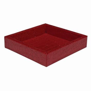 Red Faux Leather Croc Texture Valet Tray - Perfect Gift