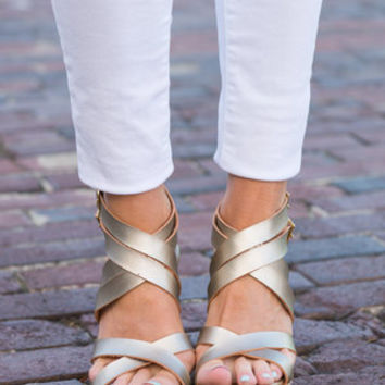Mythical Muse Wedges, Gold