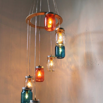 Mason Jar Lighting Chandelier Cascading Carousel by BootsNGus