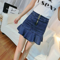 Ruffle Denim Summer Korean Slim Mermaid Skirt [10201394631]