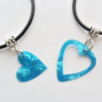 Turquoise guitar pick necklace his and her's heart set, heart best friends set | eBay