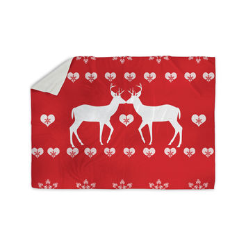 """Suzanne Carter """"Christmas Deer 2"""" Holiday Pattern Sherpa Blanket"""