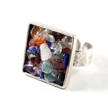 Multistone ring sterling silver chakra jewelry