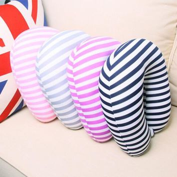 U Shaped Neck Pillow Stripe Transfer Printing Travel Pillows With Button Foam Body Pillow Decorative Office Pillow
