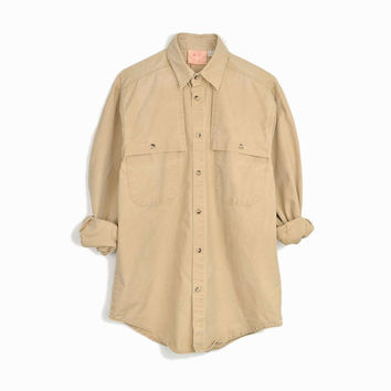 Vintage Australian Outback Shirt in Tan / Cotton Duck Canvas Shirt - men's small