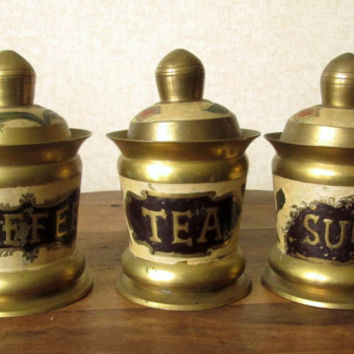 Canister Set, vintage brass containers, coffee tea sugar, painted flowers enamel floral, antique gold, kitchen decor, countertop storage