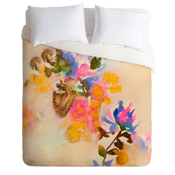 Marta Spendowska Watercolor Vintage Blooms Duvet Cover