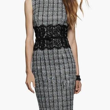 Black Floral Lace Accent Plaid Sleeveless Dress