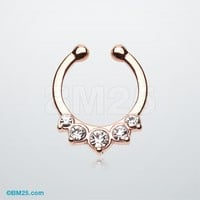 Rose Gold Multi-Gem Precia Fake Septum Clip-On Ring