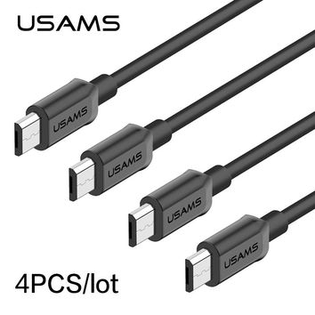 4pcs/lot Cables USAMS Micro USB Fast Charger USB Cable for Samsung MicroUSB Fast Data Sync Charger Cable for Android Xiaomi