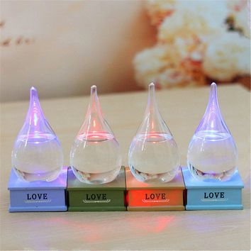 LED Weather Forecast Crystal Drop Water Shape Storm Glass Decor Christmas Gifts