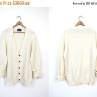 Oversize Natural White Sweater Fisherman Cardigan with POCKETS Button Up Long 80s Boho Cream Bohemian Preppy Grandpa Vintage 1980s Large