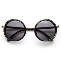 Steampunk Studio Cover Faux Leather Side Shield Round Sunglasses 9483