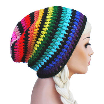 Rainbow with Bkack Beanie - Crochet Slouch- Ultimate Slacker Striped Beanie Hat- Pride