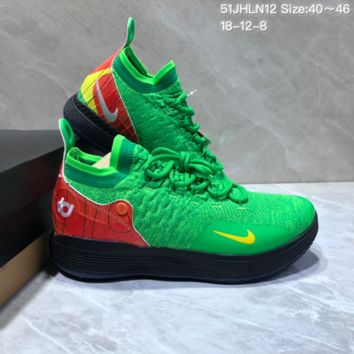 HCXX N675 Nike Zoom KD11 Mid XI Men Actual Baketball Shoes Green Red Yellow