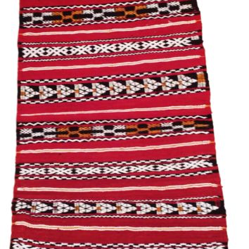 Moroccan Flat Weave Kilim Rug - Hand Woven Zemmour in Red Wool - 34 x 19.5 inches