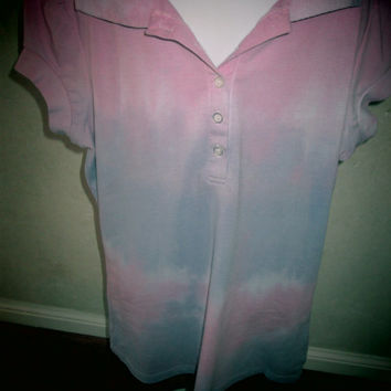 Girls, large, Belle da Jour, upcycled short sleeve shirt, soft cotton, white, pink, purple, machine wash and dry, easy care. Custom dyed.