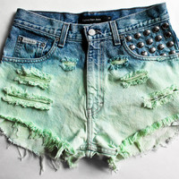 Mint Ombre Dyed Denim Shorts High Waist Shorts Studded Vintage Cut Offs Destroyed Jean Shorts