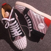Cl Christian Louboutin Lou Spikes Style #2215 Sneakers Fashion Shoes