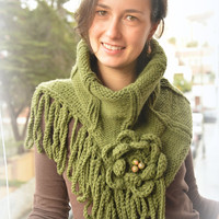 Hand Knit Cowl, Infinity Scarf, Winter Trend, khaki color cowl, green knitted cowl, winter fall green scarf