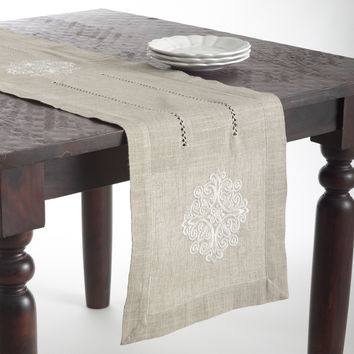 Medallion Design Embroidered Linen Blend Table Topper or Table Runner | Overstock.com Shopping - The Best Deals on Table Runners
