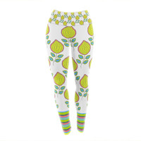 "Nandita Singh ""Yellow Leaves"" Bright Floral Yoga Leggings"