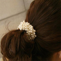 Created Pearl Hair Rope Beaded Multilayer Hair Ring Hairband Elegant Hair Accessories CC2245