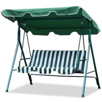 Yaheetech Garden/Backyard 3 Seater Cushioned Patio Swing,With UV Protected Canopy, Max load:440.90lb,White/Green stripe - Walmart.com