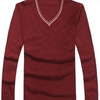 Men Spring V-Neck Long Sleeve All Matching Slim Wine Red Knitting Sweater One Size@WH0107wr $20.99 only in eFexcity.com.