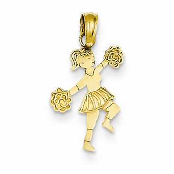 14k Yellow Gold Cheerleader with Pom Poms Charm