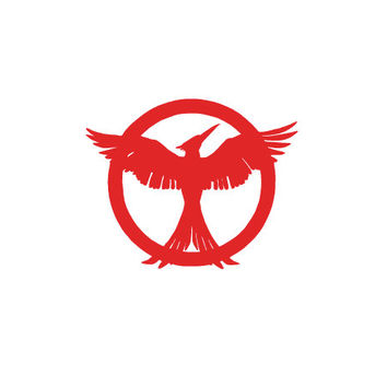 The Hunger Games Mockingjay, Catching fire pin and district 12 salute car, truck, laptop vinyl decal silhouette