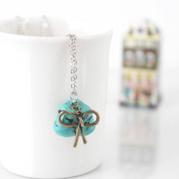 Tumbled Turquoise Stone Pendant with Ribbon Bow Charm Cute Necklace, Gift For Best Friend, Symbol of Friendship, Turquoise Jewelry