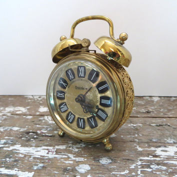 Trenkle Alarm Clock Vintage German Clock Filigree Alarm Clock