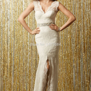 real photo 2015 Sexy V Neck Lace Sheath Wedding gown Flower Cut Out Racerback Bridal Dresses New arrival Short Trailing