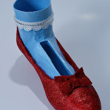 Wizard of Oz Inspired Ruby Red Slipper Altered Art Shoe Desk Accessory, Custom Designed, One Of A Kind for the Shoe Lover